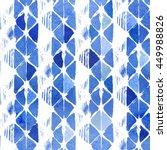 watercolor rhombus indigo batik ... | Shutterstock . vector #449988826