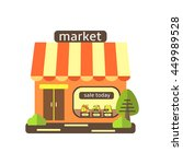 cute flat style street shop ... | Shutterstock .eps vector #449989528