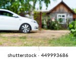 new car parked outside next to... | Shutterstock . vector #449993686