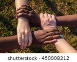 hands of multiracial friends...   Shutterstock . vector #450008212