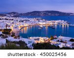 mykonos port with boats at... | Shutterstock . vector #450025456