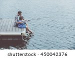fishing together. top view of... | Shutterstock . vector #450042376