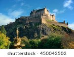 edinburgh castle with fountain... | Shutterstock . vector #450042502
