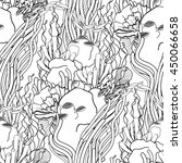 Graphic Coral Reef Drawn In...