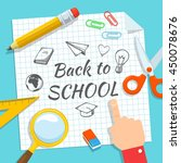 school supplies and greeting... | Shutterstock .eps vector #450078676