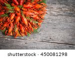 boiled crayfish with dill. | Shutterstock . vector #450081298