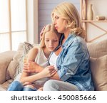 beautiful blonde woman in jeans ... | Shutterstock . vector #450085666