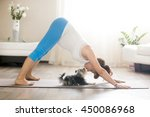 Stock photo healthy lifestyle concept pregnancy yoga and fitness young pregnant yoga woman kissing cute small 450086968