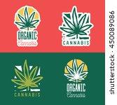organic cannabis logo badge... | Shutterstock .eps vector #450089086