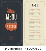 wine list menu with a bunch of... | Shutterstock .eps vector #450097636