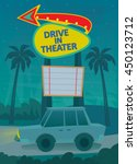 drive in poster   a night scene ... | Shutterstock .eps vector #450123712