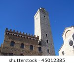 medieval tower in San Gimignano - stock photo