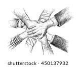 unity of hands sketch vector... | Shutterstock .eps vector #450137932