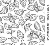 basil vector drawing seamless... | Shutterstock .eps vector #450141076