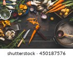 cooking with forest mushrooms... | Shutterstock . vector #450187576