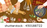 chef cooks preparing food top... | Shutterstock .eps vector #450188722