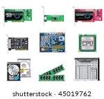 vector white computer icon set. ... | Shutterstock .eps vector #45019762