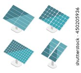 Blue Solar Panels Set. Flat...