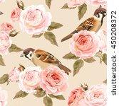 Seamless Roses And Birds