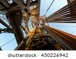 Small photo of Oil derrick. View from the drilling floor.