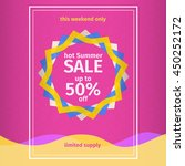 summer sales pink poster with... | Shutterstock .eps vector #450252172