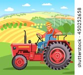 jolly farmer goes on a red... | Shutterstock .eps vector #450252658