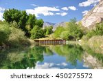 view of a large reflecting pond ...   Shutterstock . vector #450275572