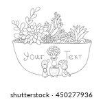 beautiful succulents in pot.... | Shutterstock .eps vector #450277936
