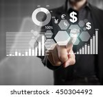 businessman with financial... | Shutterstock . vector #450304492