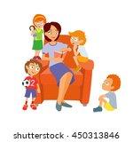 group of happy children and... | Shutterstock .eps vector #450313846