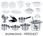 new kitchen set isolated on... | Shutterstock . vector #45031627