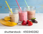 glasses of milkshakes with... | Shutterstock . vector #450340282