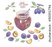 bright hand drawn plum set. jar ... | Shutterstock . vector #450351796