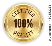 gold certifie quality button ... | Shutterstock .eps vector #450353296