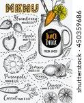 juice menu placemat drink... | Shutterstock .eps vector #450359686