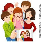 people taking selfie with...   Shutterstock .eps vector #450365296