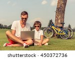 cute little boy and his... | Shutterstock . vector #450372736