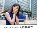 woman suffer from nose allergy... | Shutterstock . vector #450374776
