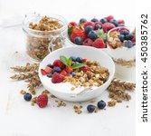 healthy breakfast with natural... | Shutterstock . vector #450385762