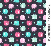 Stock vector cute flat elephant vector seamless pattern with fun color elephants silhouette and dots sweet 450428242