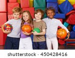 happy children as team with... | Shutterstock . vector #450428416