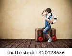 child pretend to be sailor. kid ...   Shutterstock . vector #450428686