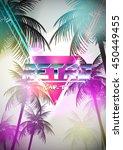 retro futurism neon poster with ... | Shutterstock .eps vector #450449455
