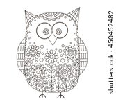 cute vector owl with hand drawn
