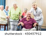 seniors with wheelchair and... | Shutterstock . vector #450457912