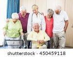 nurse and seniors standing... | Shutterstock . vector #450459118