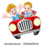 a boy and girl having great fun ... | Shutterstock . vector #450460942