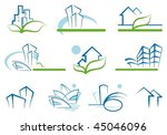 abstract architecture icon set | Shutterstock .eps vector #45046096
