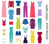 set of woman clothes icons ... | Shutterstock .eps vector #450474895