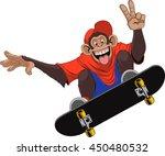 Stock vector vector illustration of funny monkey chimp rides a board skateboard 450480532